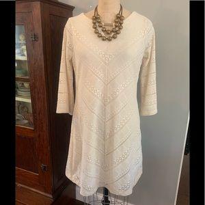 Haani Cream Crochet Lace Dress sz L